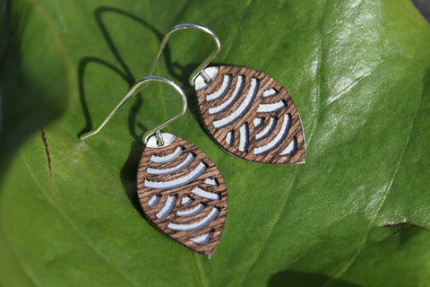 Wave - Oval Laser Cut Wood Veneer Earrings
