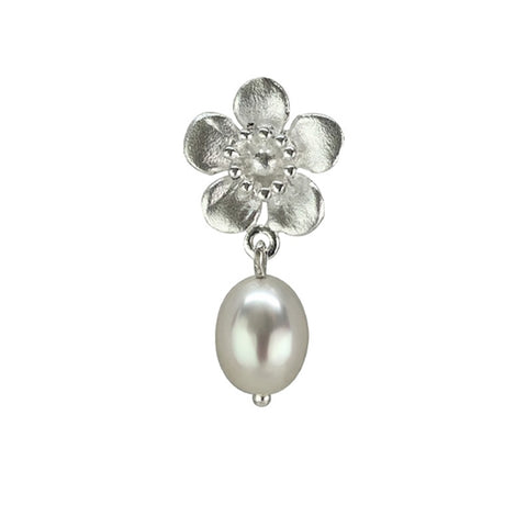 Sterling Silver Manuka Flower Matt with F/W Pearl Necklace