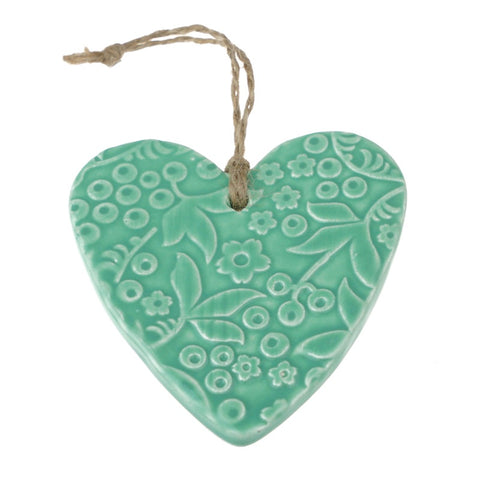 NZ Handmade Ceramic Embossed Hearts - Large