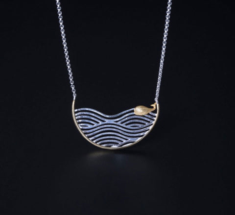 Swimming Whale Necklace - Sterling Silver