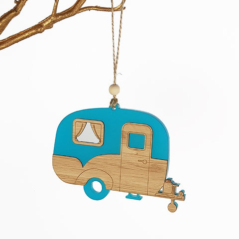 Hanging Ornament Caravan  Teal Satin Acrylic