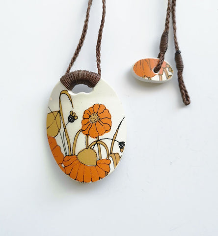 Recycled China Pendant - Orange Floral