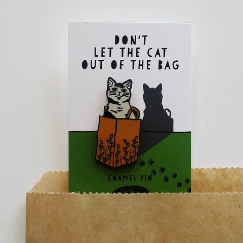 Enamel Pin - Cat in Bag