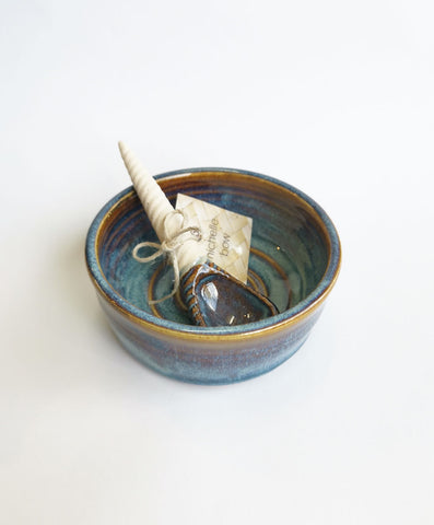 Blue Earth Salt/Sugar Bowl with Spoon