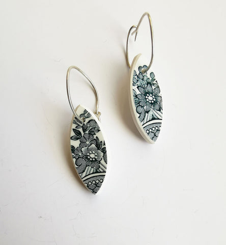 Recycled China Earring - Leaf Shape Floral