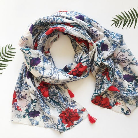 Scarf Peony Red 100% Cotton