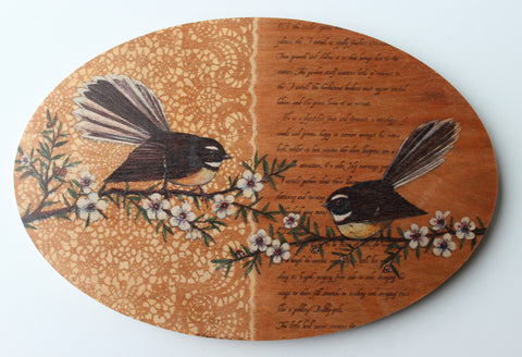 Fantail Oval Plywood Wall Art