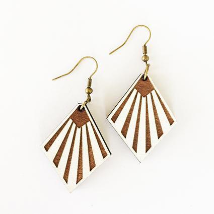 Earrings Napier Fan Deco white Silver Hook