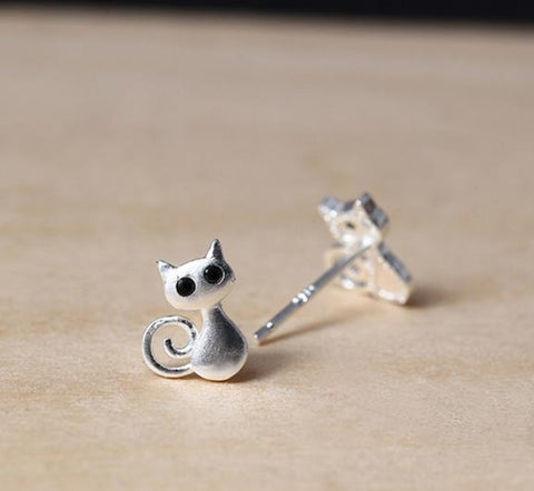 Sterling Silver Earrings - Cute CAT