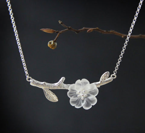 Manuka Flower Branch Necklace - Sterling Silver & Natural Crystal
