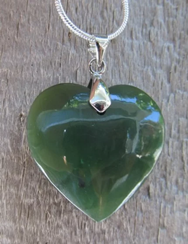Heart Greenstone Pendant 25mm