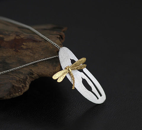 Dragonfly Reed Necklace - Sterling Silver