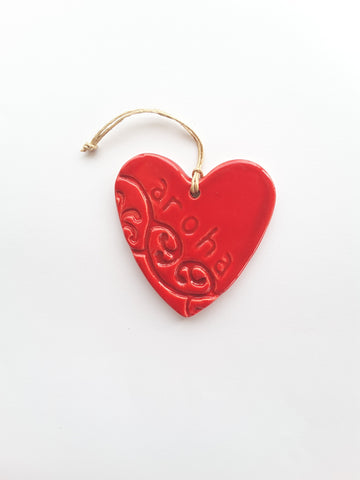 NZ Made Ceramic Imprint Heart Aroha
