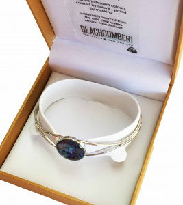 Paua Bangle Silver Round Boxed