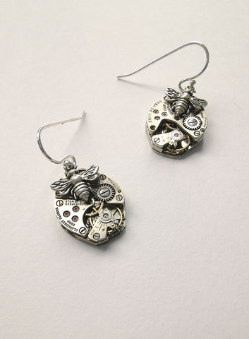 Timepiece Sterling Silver Earrings - Bees