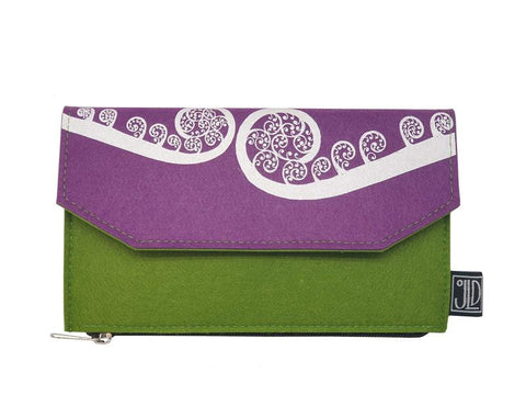 Ponga Green & Purple Ecofelt Wallet