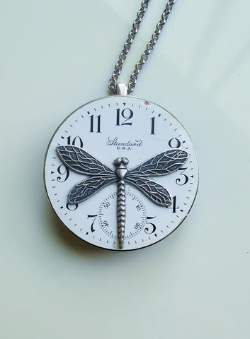 Timepiece Double-Sided Pocketwatch Pendant with Dragonflies