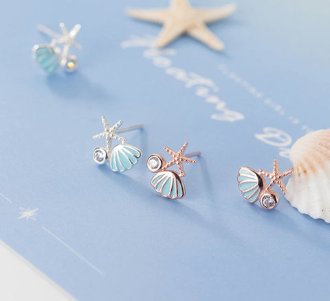 Sterling Silver Earrings - Starfish Shell
