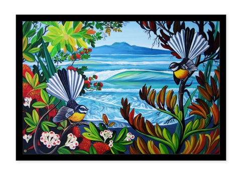 Boxed Frame - Rangitoto and Fantails