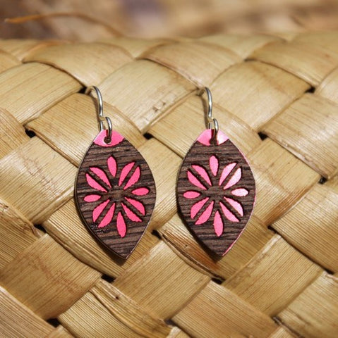 Oval Laser Cut Wood Veneer Earrings -  Frangipani