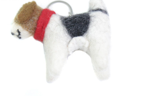 Wool Felt Craft Keyring Dog