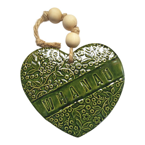 NZ Handmade Ceramic Heart Whanau