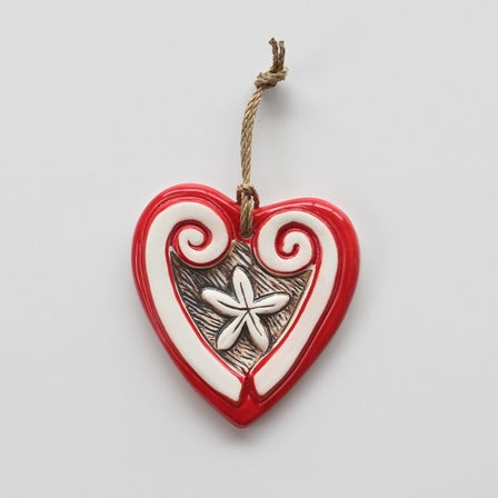 Ceramic Pacific Koru Heart Red