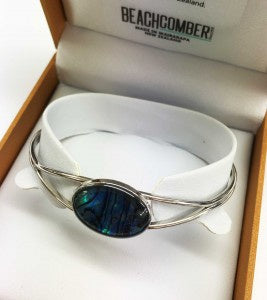 Paua Bangle Silver Oval Boxed