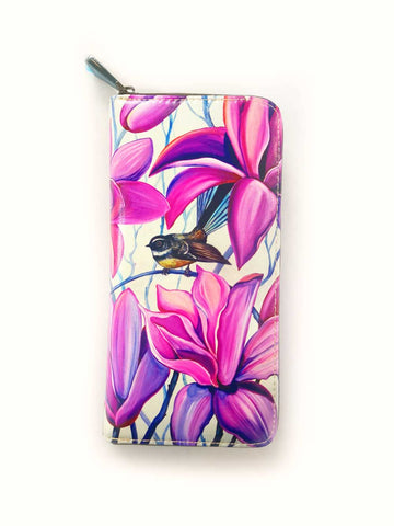 Fantail Irises Leather Long Wallet