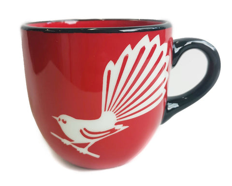 Red Fantail Mug Painted Pacific Pottery NZ Made