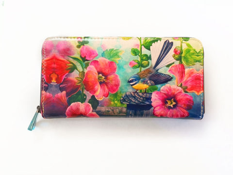 Fantail Hollyhocks Leather Long Wallet