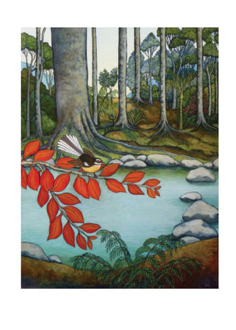 Piwakawaka Dances Over A Singing Stream - Card