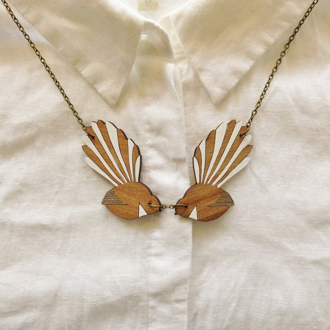 Wooden 2 Fantail Necklace