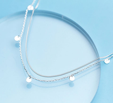 Double Layer Chain Disc Necklace - Sterling Silver