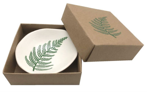Green Silver Fern on White 7cm Porcelain Bowl