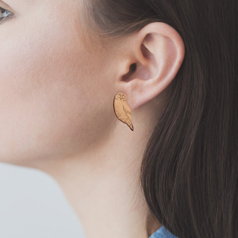 Wooden Ruru Earrings