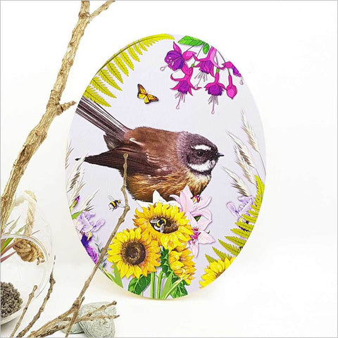 Ply Oval Art - Floral NZ Fantail