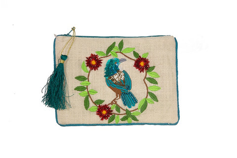 Pouch - Tui with Wreath on Textured Cotton