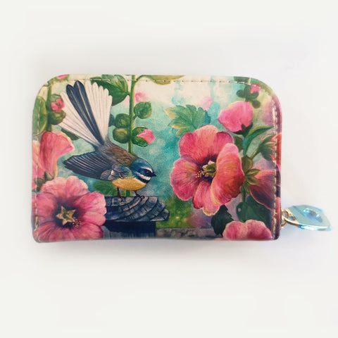 Fantail with Hollyhocks Leather Cardholder