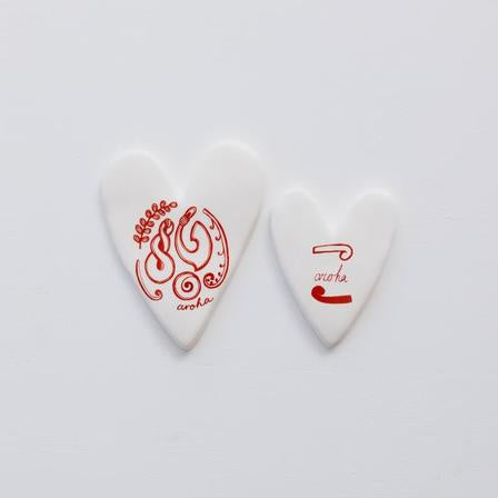 Sketch Hearts Aroha & Koru White/Red