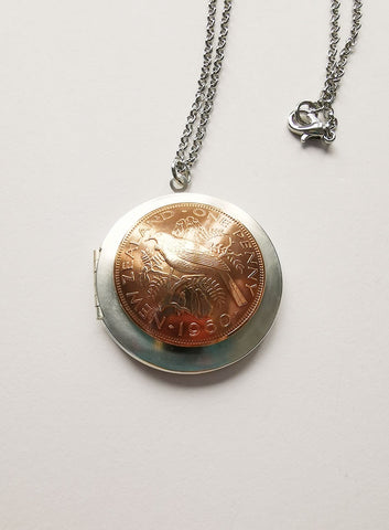 RE-Minted: Mixed metal locket - One Penny