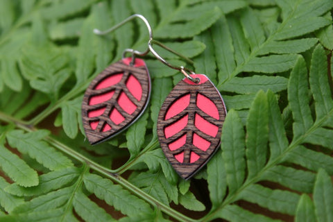 Oval Laser Cut Wood Veneer Earrings - Leaf