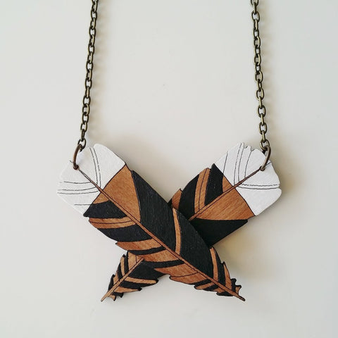 Wooden Huia Necklace