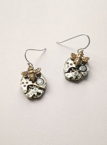 Timepiece Mixed Metal Earrings - Bronze Bees