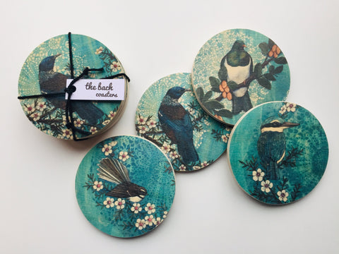 Wooden Blue Native Bird Coasters