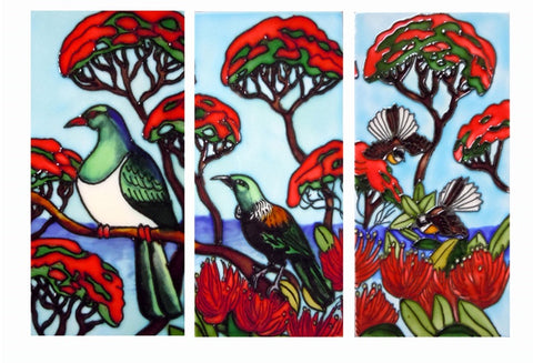 NZ Birds on Pohutukawa Triptych 3 Ceramic Tiles