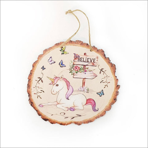 Wood Slice Art: Unicorn