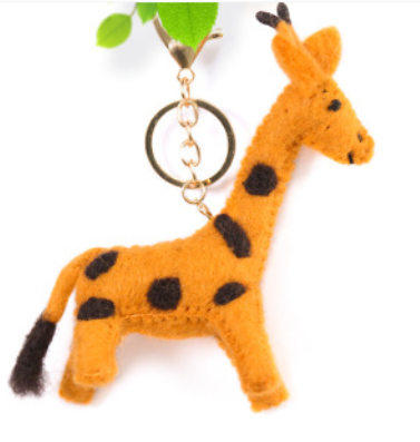 Wool Felt Craft Keyring Giraffe