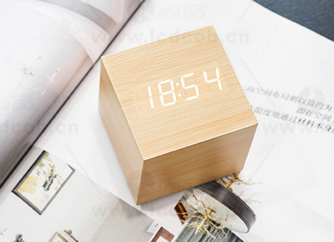 Wooden LED Alarm Clock  6cm