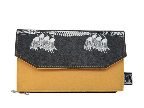Kowhai Grey/Yellow Ecofelt Wallet